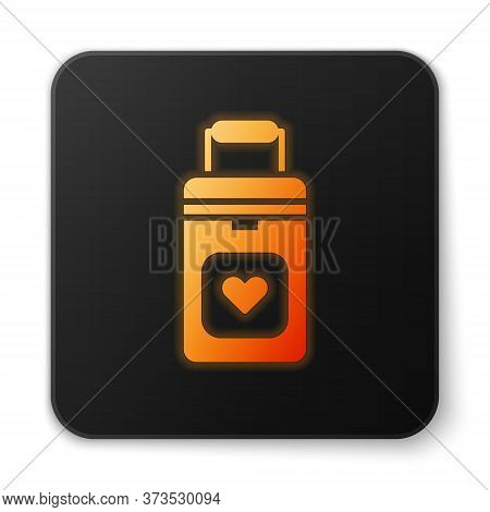 Orange Glowing Neon Cooler Box For Human Organs Transportation Icon Isolated On White Background. Or