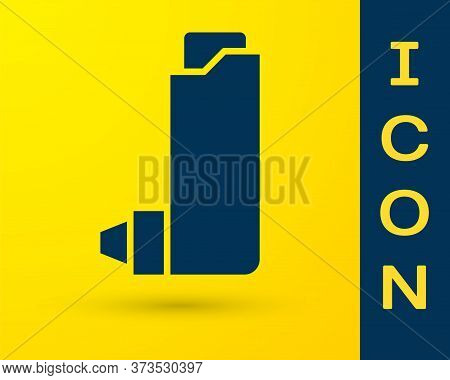 Blue Inhaler Icon Isolated On Yellow Background. Breather For Cough Relief, Inhalation, Allergic Pat