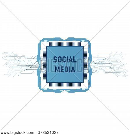 Technology Chip Social Media Icons. Processor Chip For Web