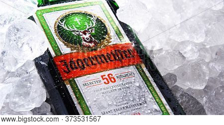 Bottle Of Jagermeister Herbal Liqueur In Crushed Ice