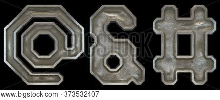 Set of symbols at, ampersand and hash made of industrial metal on black background 3d rendering