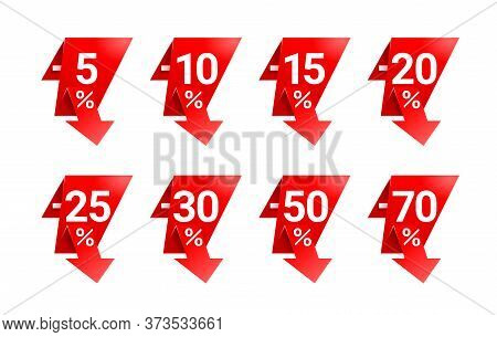 Sales Tags In Rounded Decoration With Arrow Down And Different Percentage - 5, 10, 15, 20, 25, 30 50