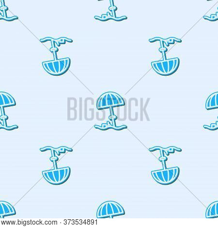 Blue Line Sun Protective Umbrella For Beach Icon Isolated Seamless Pattern On Grey Background. Large