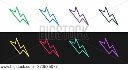 Set Line Lightning Bolt Icon Isolated On Black And White Background. Flash Sign. Charge Flash Icon.
