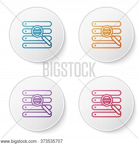 Color Line Search In A Browser Window Icon Isolated On White Background. Set Icons In Circle Buttons