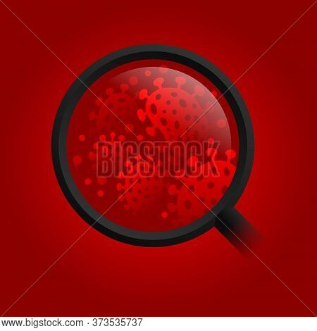 Bacteria (dabgerous Virus Or Microflora Organism) In Magnifying Glass On Red Background - Vector Mic