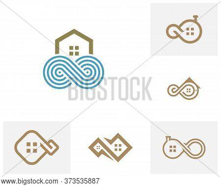 Set Of Infinity House Logo Vector Template, Creative Infinity Logo Design Concept