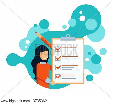 Checklist Icon - Absctact Woman Holding Big Completed Check List (test, Questionnaire, Planning) And