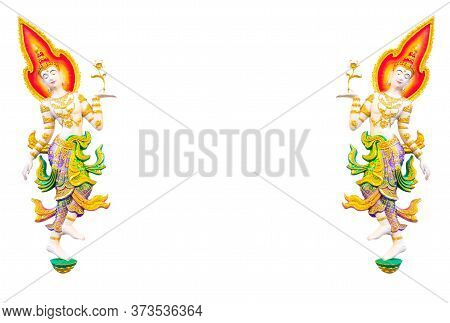 Beautiful Painted Stucco Of 2 Angles, Classical Thai Style, On White Background.  Thai Temples Are O