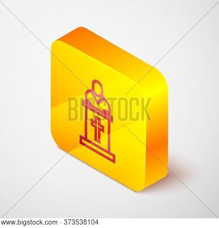 Isometric Line Church Pastor Preaching Icon Isolated On Grey Background. Yellow Square Button. Vecto