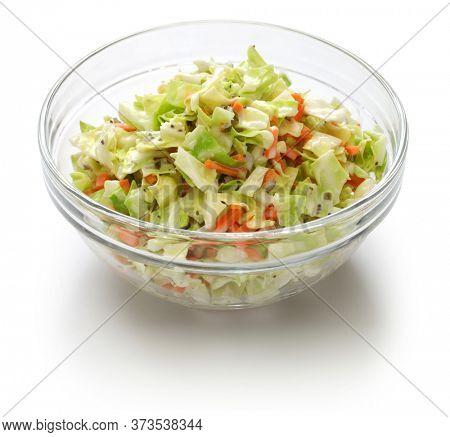 homemade coleslaw salad in bowl