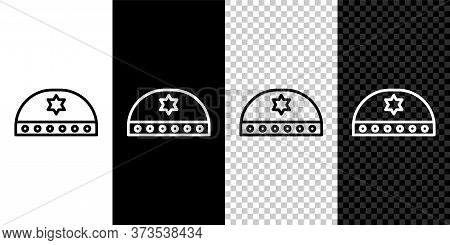 Set Line Jewish Kippah With Star Of David Icon Isolated On Black And White Background. Jewish Yarmul