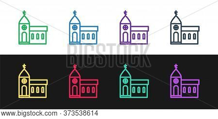 Set Line Church Building Icon Isolated On Black And White Background. Christian Church. Religion Of