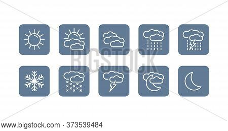 Weather Forecast Icons Set - Day, Summer, Sunny, Partially Cloudy, Clouds, Rain, Snow, Moon (night),