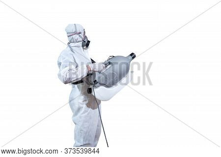 Specific Specialist And Professional In Virus Protection Suit Holds Machine To Spray Sanitizer Liqui