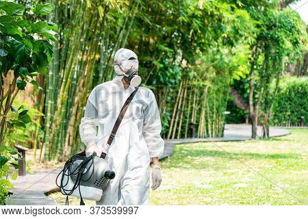 Professional Specialist Walking And Observating Around The Outdoor Garden To Prepare Spraying Saniti