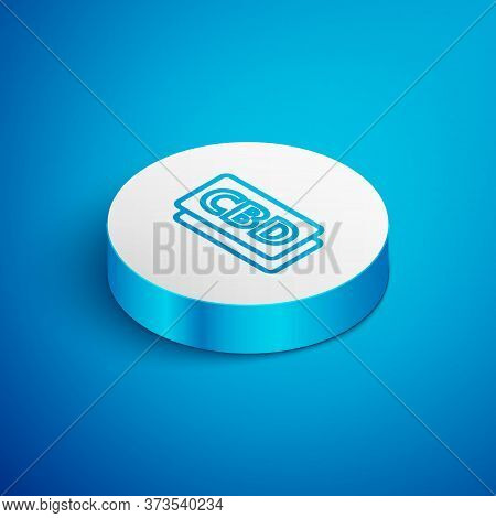 Isometric Line Cannabis Molecule Icon Isolated On Blue Background. Cannabidiol Molecular Structures,