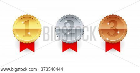 Gold, Silver And Bronze Medal Icon - 1st, 2nd And 3rd Place Awards Set - Three Winning Places Isolat