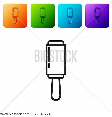 Black Line Adhesive Roller For Cleaning Clothes Icon Isolated On White Background. Getting Rid Of De