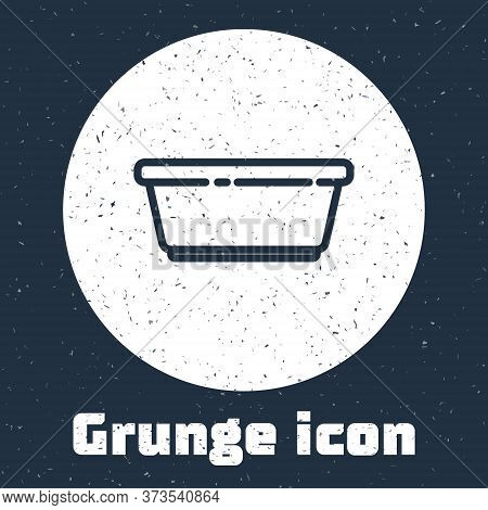 Grunge Line Plastic Basin Icon Isolated On Grey Background. Bowl With Water. Washing Clothes, Cleani