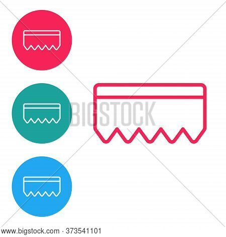 Red Line Sponge With Bubbles Icon Isolated On White Background. Wisp Of Bast For Washing Dishes. Cle