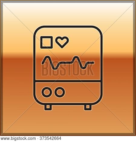 Black Line Computer Monitor With Cardiogram Icon Isolated On Gold Background. Monitoring Icon. Ecg M