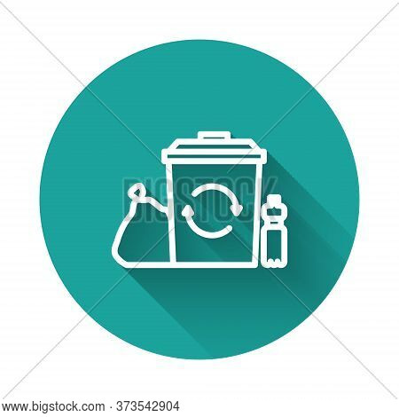 White Line Recycle Bin With Recycle Symbol Icon Isolated With Long Shadow. Trash Can Icon. Garbage B