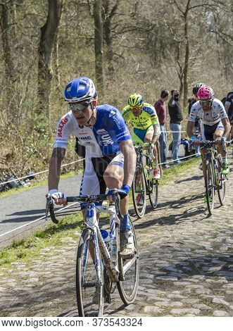Wallers,france - April 12,2015: The Italian Cyclist Zurlo Federico Of United Healthcare Team Riding