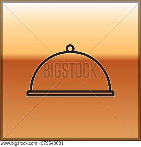 Black Line Covered With A Tray Of Food Icon Isolated On Gold Background. Tray And Lid. Restaurant Cl