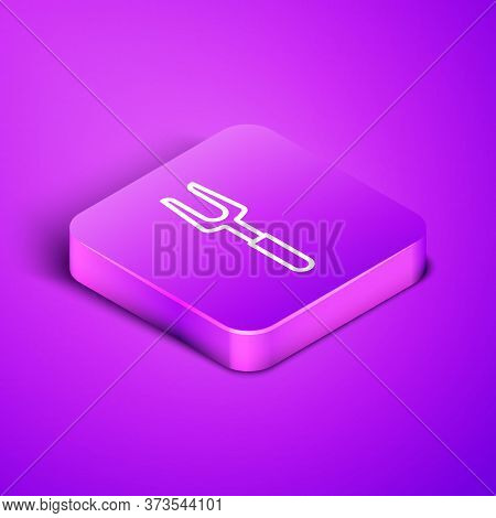 Isometric Line Barbecue Fork Icon Isolated On Purple Background. Bbq Fork Sign. Barbecue And Grill T