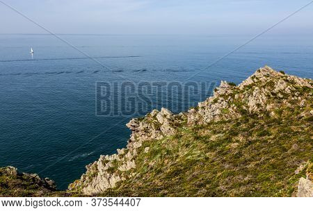 Cliffs At Erquy Cape In Brittany In North Of France.