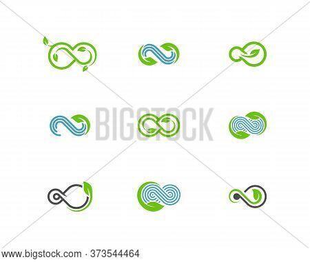 Set Of Infinity Leaf Logo Vector Template, Creative Infinity Logo Design Concept