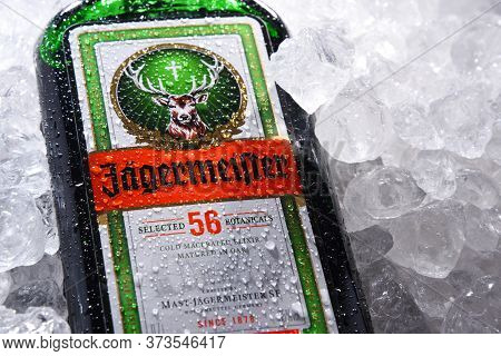 Poznan, Pol - May 28, 2020: Bottle Of Jagermeister, German Digestif Made With 56 Herbs And Spices, T