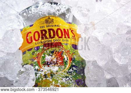 Poznan, Pol - May 28, 2020: Bottle Of Gordon's London Dry, A Brand Of The World's Best Selling Londo