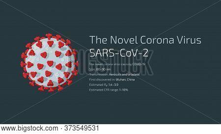 Detailed Flat Vector Illustration Of The Novel Corona Virus Sars-cov-2, The Virus Causing Covid-19.
