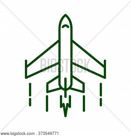 Fighter Plane Icon. Vector Flat Outline Illustration Of A Small And Fast Military Jet Fighter Flying