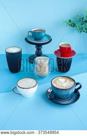 Set Of Different Types Of Coffee, Latte, Cappuccino, Mocha, Americano Black Coffee