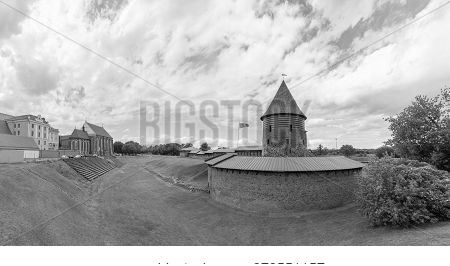 Kaunas Castle On Cloudy Summer Day. Panorammic View.