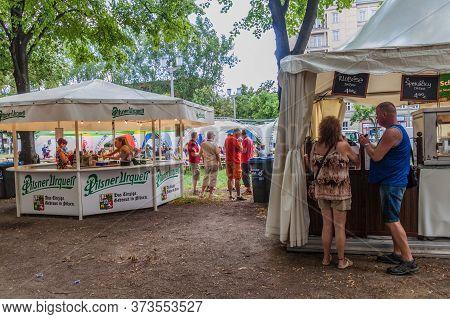 Berlin, Germany - August 4, 2017: Beer Stalls At The International Berlin Beer Festival.
