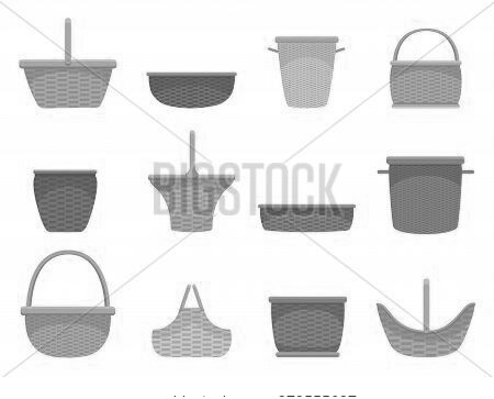 Wicker Basket Assortment Flat Set. Containers Woven By Hand For Harvesting, Storage, Transportation.