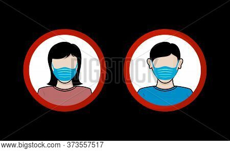 Vector Face Mask Women And Man Isolated On Black Background, Breathing Mask On Male And Female Face