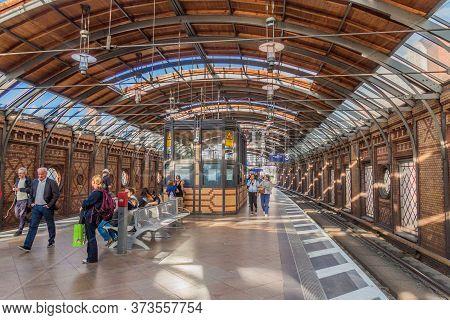 Berlin, Germany - August 24, 2017: View Of Berlin S-bahn Rapid Transit Railway System Station Hackes