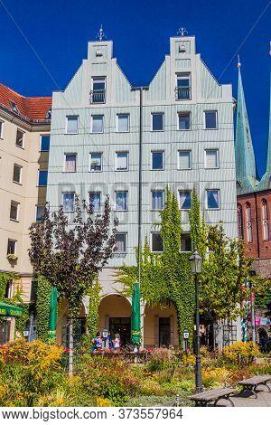 Berlin, Germany - August 30, 2017: Buildings Of Nikolaiviertel Neighborhood In Berlin, Germany