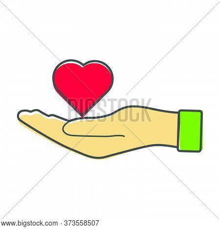Vector Icon Of A Red Hand Holding A Heart. Flat Design Of The Hand And Heart Cartoon Style On White