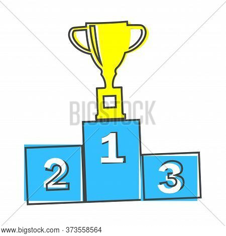 Vector Illustration Of A Winners Podium With A Cup Standing In The First Place. The Winners Cup And