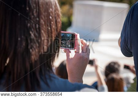Arlington Usa- October 26 2014; Filming Changing Of Guard At Tomb Of Unknown Soldier Arlington, Peop