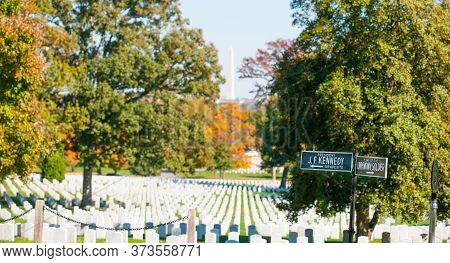 Arlington Usa- October 26 2014; Arlington National Cemetery Signs To Gravesite Of J F Kennedy And To
