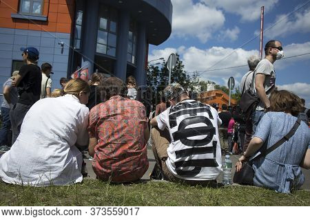 Moscow, Russia - 26.06.2020, People Gathered Outside Court. The Film Director, Kirill Serebrennikov,