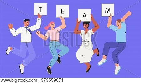 Company Workers, Colleagues, Employees Or Coworkers Jump Cheerfully. Concept Of Team Success, Teambu