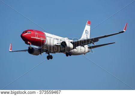 Budapest / Hungary - March 9, 2020: Norwegian Air Shuttle Boeing 737-800 Se-rpj Passenger Plane Arri